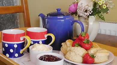 A scrumptious cream tea awaits our guests on arrival