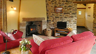 Monkstone Cottage - large comfy lounge with woodburner stove