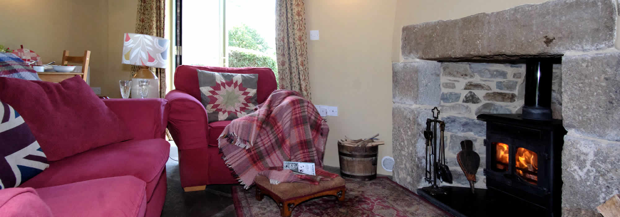 Monkstone Cottage double ensuite bedroom with views over Dartmoor